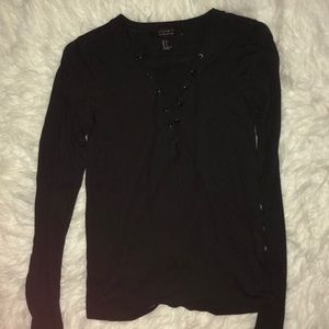 black lace up forever 21 long sleeve